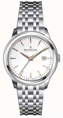 Dreyfuss Bracelete de aço inoxidável para mulher, mostrador prateado DLB00125/06