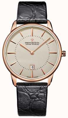 Dreyfuss Relógio de couro preto de Gents DGS00139/46