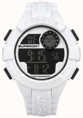 Superdry Rastreador de borracha branca digital para radar Mens SYG193W