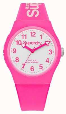 Superdry Faixa de borracha rosa urbana unisex mostrador branco SYG164PW