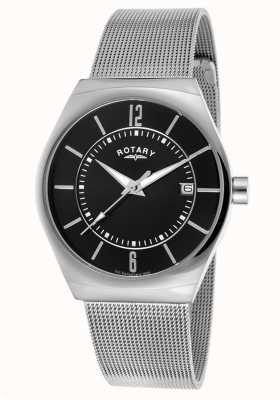 Rotary Mens pulseira de malha de aço inoxidável mostrador preto GB00033/19