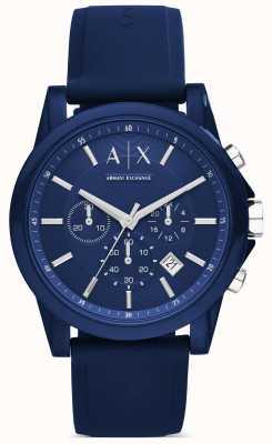 Armani Exchange Cronógrafo de silicone azul AX1327