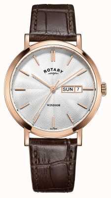 Rotary Bracelete de couro marrom para homens rosa banhado a ouro GS05304/02