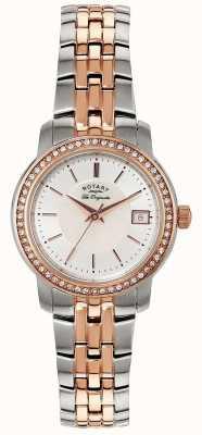 Rotary Mulheres | pulseira de aço inoxidável / pvd em dois tons | mostrador prateado | LB90092/41