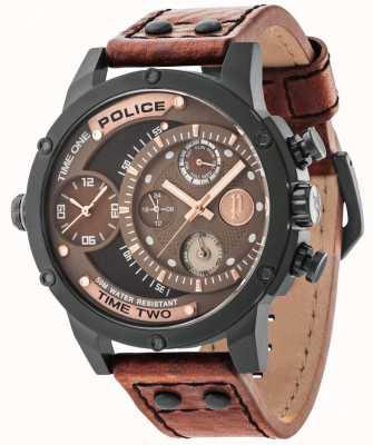 Police Alça de couro marrom mostrador preto marrom 14536JSB/12A
