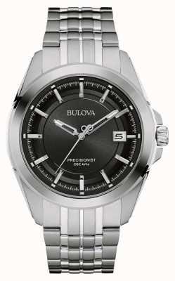 Bulova Mens cinta de prata em aço inoxidável mostrador preto 96B252