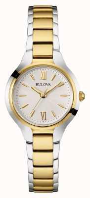 Bulova Braçadeira branca de dois tons para mulheres 98W221