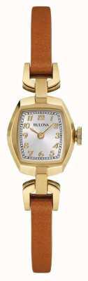 Bulova Dial de retângulo de pulseira de couro marrom das mulheres 97L153