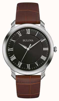 Bulova Alça de couro marrom para marcação preta masculina 96A184