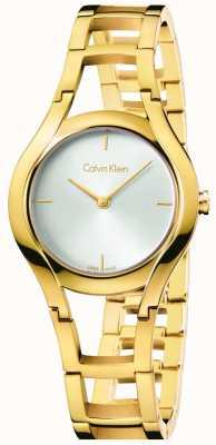 Calvin Klein Discagem branca banhada a ouro em uma classe feminina K6R23526