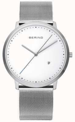Bering Alça de prata unisex mostrador branco 11139-004