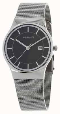 Bering Alça de prata preta para homens 11938-002