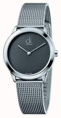 Calvin Klein Mostrador preto pulseira de malha mínima K3M2212X