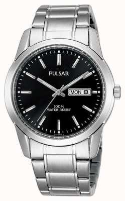 Pulsar | mens | dia preto data dial | pulseira de aço inoxidável | PJ6021X1