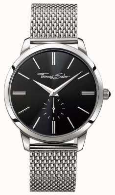 Thomas Sabo Bracelete em aço inoxidável com mostrador preto para homem WA0152-201-203-42