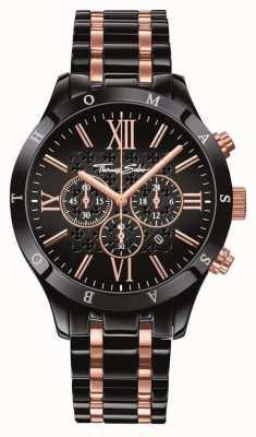 Thomas Sabo Mens preto rosa ouro aço inoxidável WA0196-268-203-43
