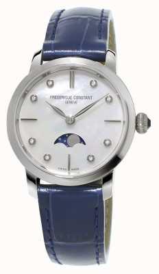 Frederique Constant Womens slimline moonphase diamond set faixa de couro azul FC-206MPWD1S6