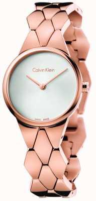 Calvin Klein Serpente para mulheres rosa ouro pvd pulseira prata discagem K6E23646