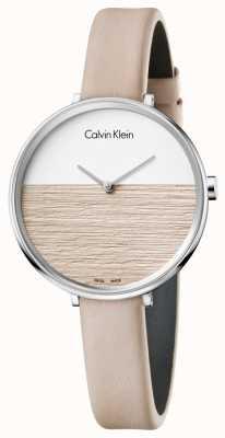 Calvin Klein Bracelete de couro bege em couro para mulheres K7A231XH