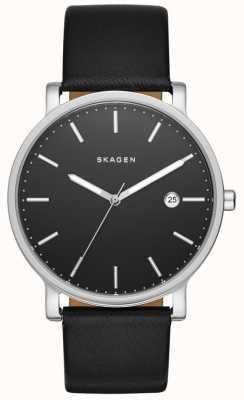 Skagen Mens hagen relógio de pulseira de couro preto SKW6294