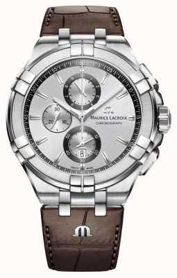 Maurice Lacroix Mens aikon cronógrafo pulseira de couro marrom mostrador de prata AI1018-SS001-130-1