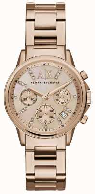 Armani Exchange Womans rose gold cronógrafo discagem rose gold metal strap AX4326