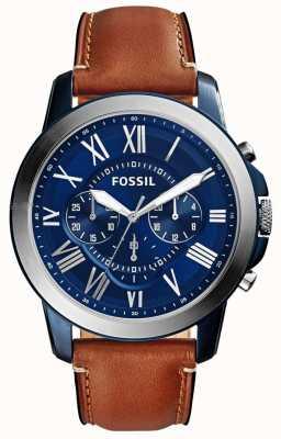 Fossil Correia de cronógrafo azul para homem faixa de couro marrom FS5151