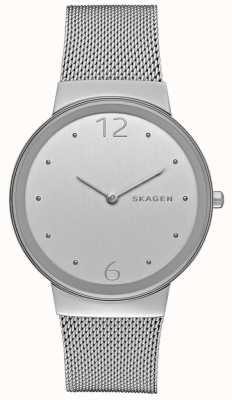 Skagen Rótula de malha de metal prateado de prata e prata prateada SKW2380