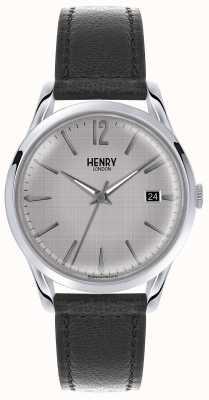 Henry London Alça de couro preta de couro para homens HL39-S-0075