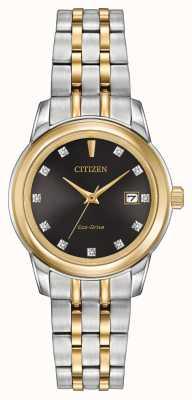 Citizen Feminino 11 diamantes de dois tons de aço inoxidável EW2394-59E