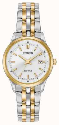 Citizen Pulseira de aço inoxidável de dois tons em aço inoxidável mostrador branco EW2404-57A
