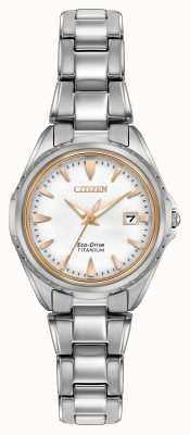 Citizen Bracelete de titânio feminino mostrador branco EW2410-54A