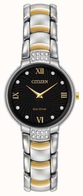 Citizen Womens 24 diamante pulseira de dois tons mostrador preto EX1464-54E