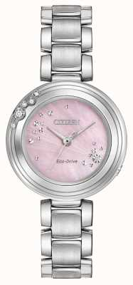 Citizen Womens eco-drive seis diamantes dial rosa wr50 EM0460-50N