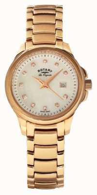 Rotary Bracelete de pérolas de prata e rosa de Womans LB90120/41