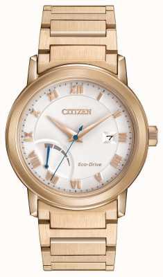 Citizen Mens eco-drive banhado a ouro reserva de energia pulseira AW7023-52A