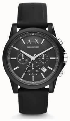 Armani Exchange Bracelete de silicone preta para homens mostrador de cronógrafo preto AX1326