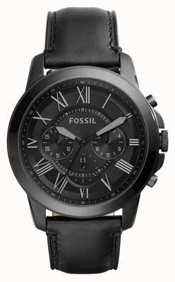 Fossil Mens pulseira de couro preto mostrador preto cronógrafo FS5132