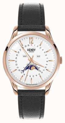Henry London Richmond rosa bolsa de couro preta de couro HL39-LS-0150