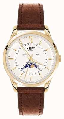 Henry London Bolsa de ouro Westminster caixa de couro marrom HL39-LS-0148