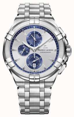 Maurice Lacroix Mens aikon pulseira de aço inoxidável mostrador de prata AI1018-SS002-131-1
