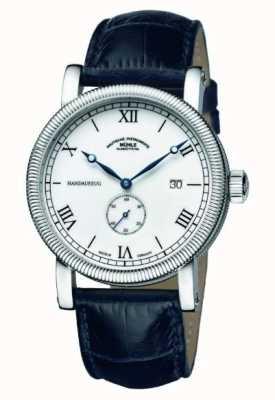 Muhle Glashutte Teutonia iii handaufzug kleine sekunde pulseira de couro mostrador branco M1-08-11-LB