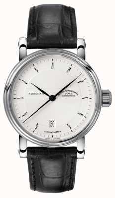 Muhle Glashutte Teutonia ii cronômetro pulseira de couro mostrador prateado M1-30-45-LB