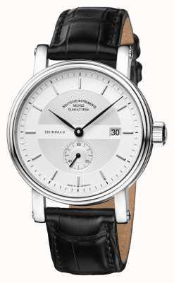 Muhle Glashutte Teutonia ii kleine sekunde pulseira de couro mostrador prateado M1-33-45-LB