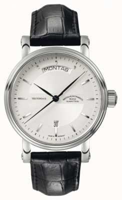 Muhle Glashutte Teutonia ii tag / datum pulseira de couro mostrador prateado M1-33-65-LB