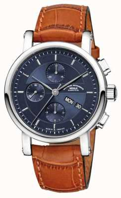 Muhle Glashutte Teutonia ii grossdatum cronômetro pulseira de couro noite azul dial M1-33-76-LB