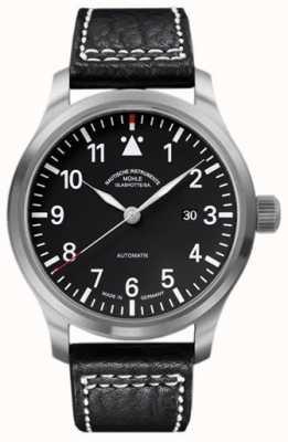 Muhle Glashutte Terrasport em mostrador preto de pulseira de couro M1-37-34-LB
