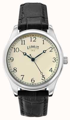 Limit Mens creme de couro preto pulseira de discagem 5631.01