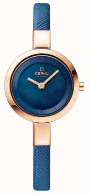 Obaku Womans subiu caixa de ouro pulseira de couro azul V129LXVLRA