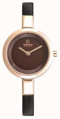 Obaku Womans subiu caixa de ouro pulseira de couro marrom V129LXVNRN